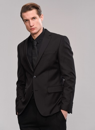 People By Fabrika Klasik Ceket Siyah